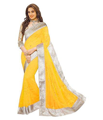 Fabulous Trendz Women's Georgette Fabric Saree (LightYellow)