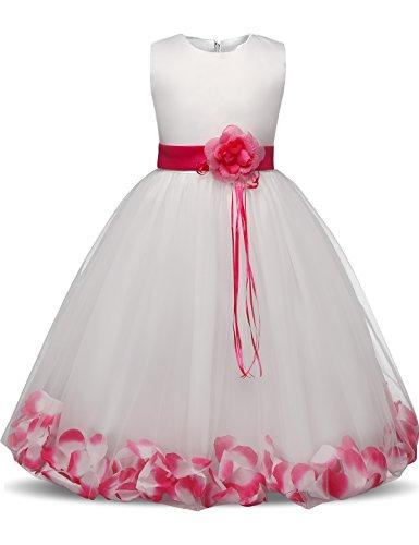 NNJXD Mädchen Tutu Blütenblätter Schleife Brautkleid für Kleinkind Mädchen, Großes Rose, 7-8 Jahre