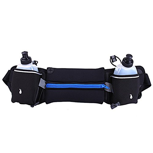 e : Fastar Running Belt with 2 Water Bottles Sports Waist Bag Mobile Phone Pocket Walking Bags with Adjustable Belt for Fitness Training,Hiking,Other Outdoor Activities