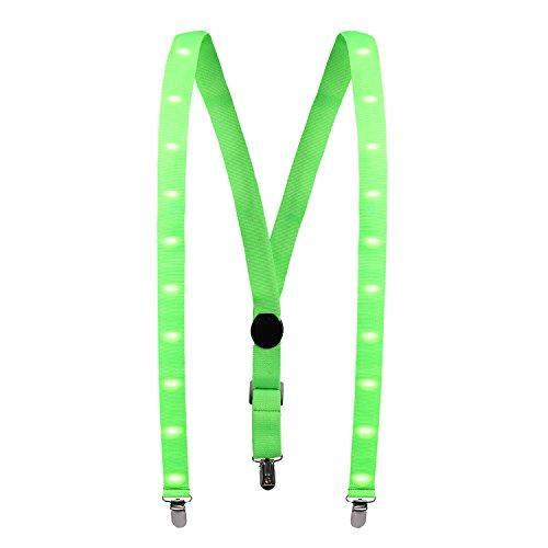 LED Hosenträger, Tagvo 25mm LED Hosen Hosenträger Y Form Hosenträger mit 3 starken Clips für Party Favor / Outdoor-Aktivitäten - Unisex, verstellbarer Riemen für die meisten - Die Beliebtesten Herren-halloween-kostüme