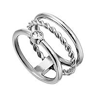 ESPRIT Loris ESRG000421in Three Row Ring Silver with Zirconia Stone Silver (18 mm)