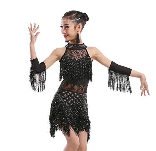 ZYLL Mädchen Latin Dance Kleid, Quaste Rock Latin Kostüm Bühne Leistung Wettbewerb Ballroom Dance Kostüm Mädchen Latin Salsa Tango Quaste Tanzkleid,Black,110CM