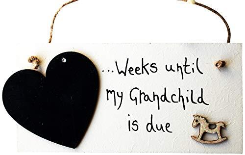 MadeAt94 Baby Shower Countdown Plaque Grandparent 1st Grandchild Gift Announcement