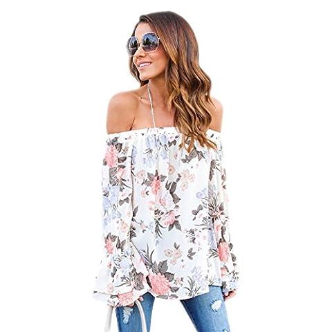 Koly Bustier Blouson en mousseline de soie pour femmes épaules imprimés floraux Top décontractés à la mode T-shirt à manches longues sans bretelles Vacances d