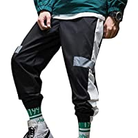 Hombres Color De Contraste Reflectante Pantalones De Chándal para Correr Al Aire Libre Ocasionales Primavera Otoño Hip-Hop Harem Pantalones