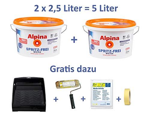 Renovierset: 2 x 2,5 L. = 5 Liter Alpina Spritz-Frei, weiße Wandfarbe, extreme Deckkraft + Gratis Farbwanne, Farbroller, Abdeckfolie & Klebeband