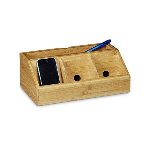 Relaxdays Schreibtisch-Organizer aus Bambus H x B x T: ca. 11 x 30 x 17,5 cm inklusive Handyhalter auch als Ladestation Aufbewahrungsbox für den Schreibtisch Organizer im Büro mit 5 Fächern, natur