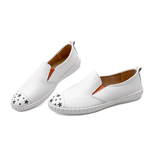 VogueZone009 Damen Rund Zehe Niedriger Absatz Weiches Material Ziehen Auf Flache Schuhe Weiß