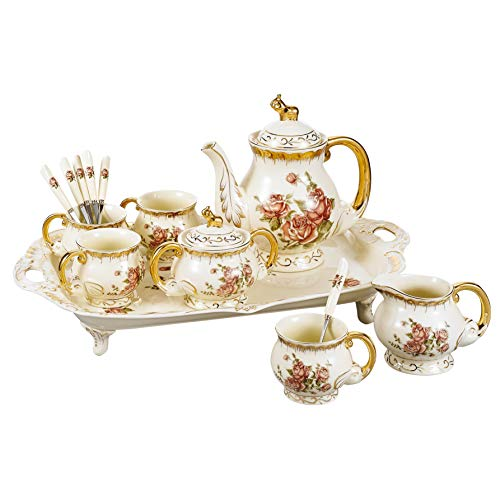 Panbado, Porzellan Kaffeeservice 12 teilig Set, Cremefarbe, mit 4 Löffel, 4 Kaffeetassen, 1200 ml Kaffeekanne, Milch und Zuckerset und Servierplatte