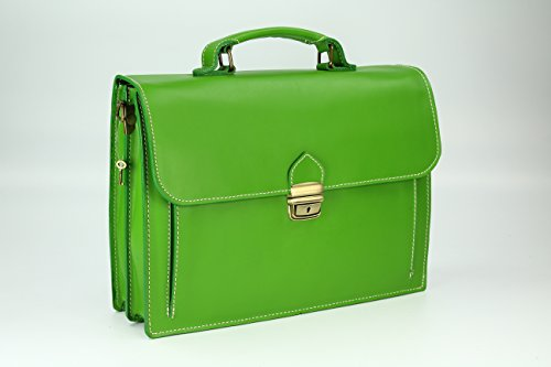 """BELLI """"Design Bag Tennessee"""" mittelgroße Echt Nappa Leder Businesstasche unisex - Farbauswahl - 37x27x12 cm (B x H x T) Grün"""