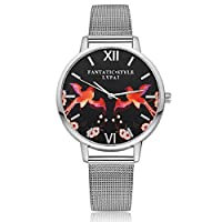 Lvpai Flying Bird Flower Pattern Alloy Mesh Band Quartz Women Wrist Watch -Silver