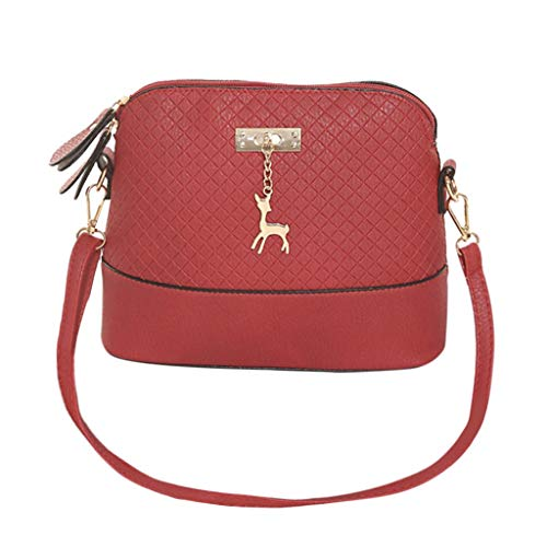 Handtasche Schultertasche Sunday Flap Kameratasche Zipper Frauen Messenger Bags Mode Mini Bag Deer Spielzeug Shell Form Tasche Neue Bote Jahrgang kleines Shellscript aus lässig Kalbsleder (20cm, Rot) -