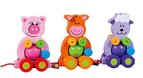 LELIN Nachziehtier - Set Bauerhof - Freunde - Natur belassenes Spielzeug Massivem Holz - Schwein Kuh und Schaf - Fördert die Motorik - Spielzeug für Laufanfänger - Geeignet ab 12 Monaten