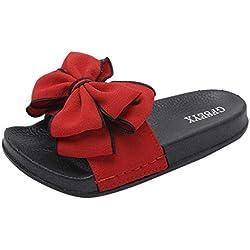 KItipeng Chaussure Femme ÉTé,Pas Cher Slipper Tong,Femme Claquettes Plates Sandales Tongs Chaussures De Plage,Chaussons Sandales Plates Douces Fluffy,Noir, Rouge, Rose, Vert