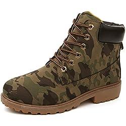 Minetom Mujer Retro Otoño Invierno Moda Martin Boots Botines Calentar Botas de Nieve Anti-deslizante Lazada Zapatos Botas de Trabajo Camuflaje EU 39