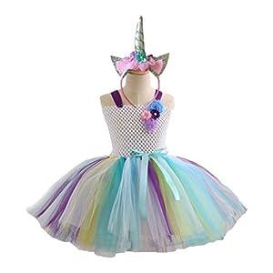 PRETYZOOM Mädchen Tutu Röcke Set mit Einhorn Stirnband Bunte Prinzessin Mädchen Tutu Outfit Baby Mädchen Einhorn Geburtstag Outfit Set