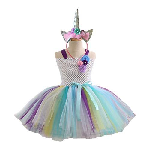 Toyvian Mädchen Einhorn Kleid Regenbogen Kostüm Outfits Prinzessin Party Bekleidung Set mit Einhorn Haarband für 4-5J Mädchen Kinder