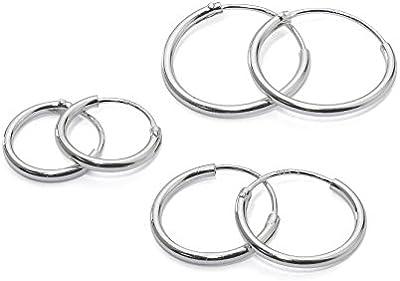 3pares plata de ley pequeño Endless pendientes de aro para el cartílago de la oreja, nariz o labios, 10mm 12mm 14mm