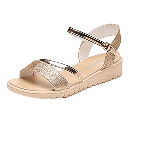 Women Flats Sandals, LHWY Summer Muffin Fish Head Women Sandals Platform Simple Shoes Flat Shoes (4.5,
