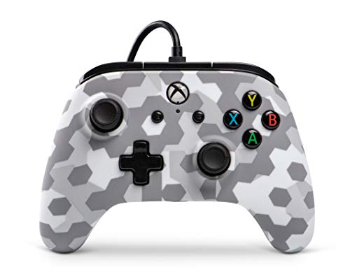 Manette filaire PowerA sous licence officielle pour Xbox One, Xbox One S, Xbox One X, Windows 10  - Camo Arctic Fros