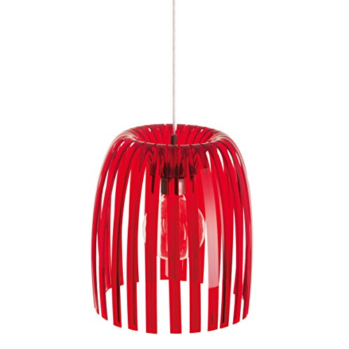 koziol suspension Josephine M, thermoplastique, rouge transparent, 31,3 x 31,3 x 35 cm