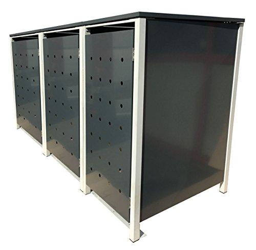 BBT@ | Hochwertige Mülltonnenbox für 3 Tonnen je 120 Liter mit Klappdeckel in Grau / Aus stabilem pulver-beschichtetem Metall / Stanzung 1 / In verschiedenen Farben sowie mit unterschiedlichen Blech-Stanzungen erhältlich / Mülltonnenverkleidung Müllboxen Müllcontainer - 2