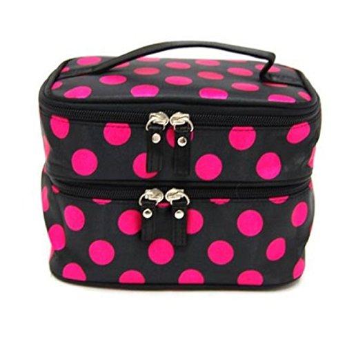 WOCACHI Kosmetiktasche Zwei Schichten Wellenpunkt Hand Make-up Kosmetik Beutel Handtaschen beweglicher Spielraum Toilettenartikel Taschen Make-Up Etuis Kosmetikkoffer Hot Pink