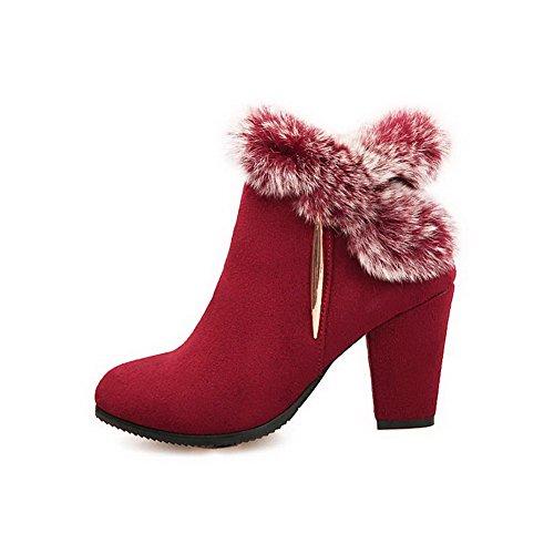 VogueZone009 Donna Punta Tonda Tacco Alto Bassa Altezza Puro Stivali Rosso