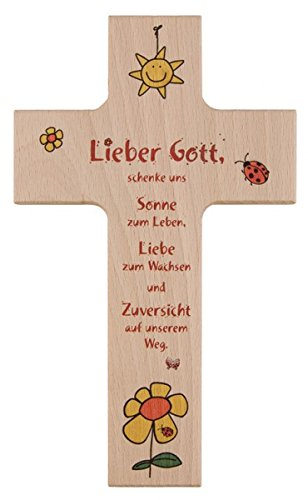Kinder - Holzkreuz 'Lieber Gott' 15 cm