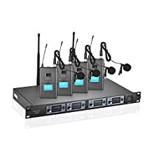 ammoon 4S Professional 4 Kanal UHF Wireless Lavalier Reverskragen Clip-on-Mikrofon-System 4 Mikrofone 1 Wireless-Empfänger 6,35 mm Audio-Kabel LCD-Display für Karaoke Party Präsentation Öffentliche