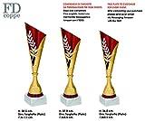Coppa Trofeo in ABS con Base in Marmo - 03 Coppe con TARGHETTE Personalizzate Incluse nel Prezzo. Colore Oro con Particolari in Rosso. 98008