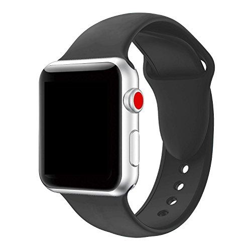 Tervoka Für Apple Watch Armband 42mm, Soft Silikon Ersatz Armbänder für Apple Watch Armband 42mm Series 3/2/1, Sport, Edition, M/L, Schwarz