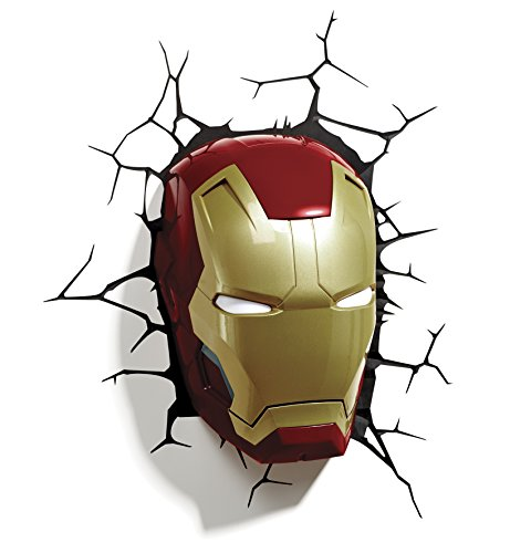 Lansay 10151–Einrichtung und Dekoration–Avengers–Iron Man Maske 3D beleuchtet Wandtattoo