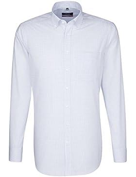 SEIDENSTICKER Herren Hemd Modern Langarm Bügelfrei Karo Businesshemd Button-Down-Kragen Kombimanschette weitenverstellbar