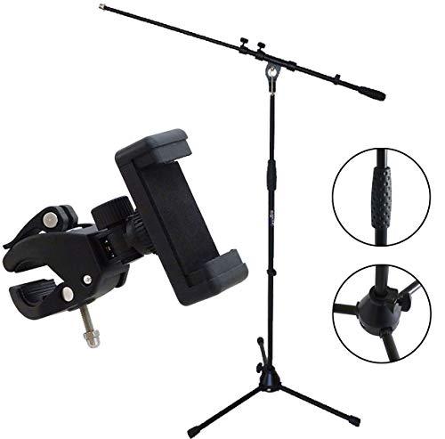 Keepdrum Mikrofonständer mit Galgen + Universal Smartphone-Halter