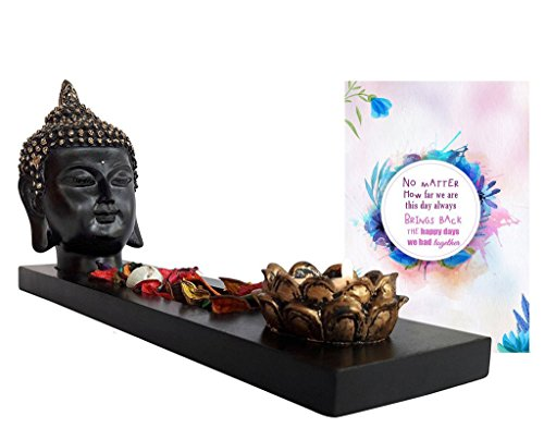 Tied Ribbons Raksha Bandhan Gifts For Sister Combo (Buddha Head On Wooden Tray With Tealight And Potpourri)