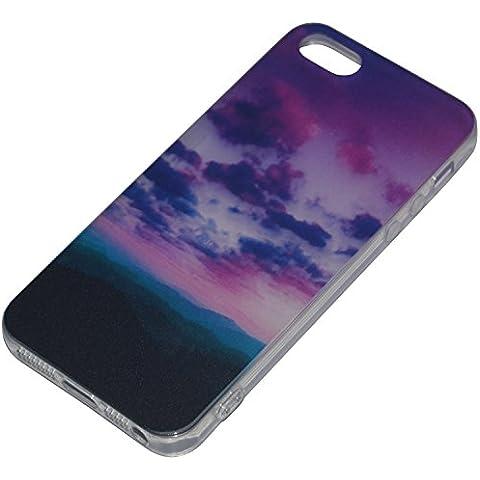 ICHOW Ultra delgado teléfono Patrón caso de la cubierta del protector Escena del cielo flexible para Iphone 5 5s