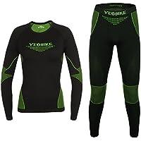 Maxmer Conjunto Interior Térmica Ropa Deportiva para Mujer Invierno Respirable, Color Verde, Tamaño L