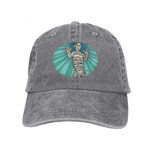 Xunulyn Unisex Jeans Baseball Cap Classic Cotton Dad Hat Adjustable Plain Cap Vintage Egyptian Mummy Horror Movie Halloween pop Art Retro Gray