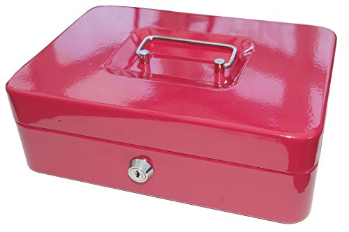 """Glow Premium Geldkassette aus Stahl - sichere und stabile Schlüssel-Schließ-Spardose mit glänzender Oberfläche, abnehmbare Münzablage, Zylinderschloss mit 2 Schlüssel und Tragegriff, Red (10\"""")"""