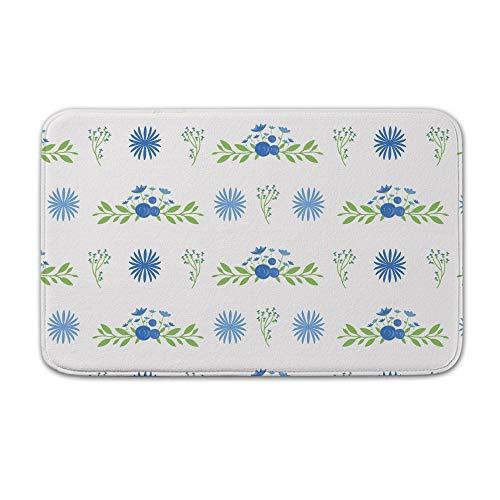 DKISEE Fußmatte für den Innen- und Außenbereich, mit Blumenmuster, Fußmatte, Flanell, 20