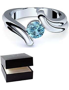 Blautopas Ring Silber 925 Ring blauer Stein (sehr hochwertiger Blautopas 6 mm!) + GRATIS Luxusetui offener Ring...