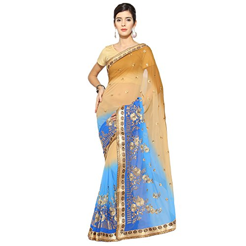 Florence Beige & Blue Chiffon Embroidered Saree with Blouse  available at amazon for Rs.1139