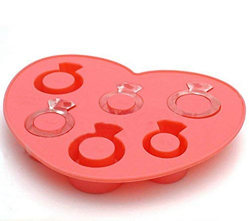 Aisence Silicone Love Diamond Ring Shape Ice Cube Trays Mold,Random color (Ring-ice Tray Cube)