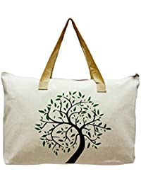 "Linnada Eco Bag, Eco Friendly Tote Bag Natural Color 21.5"" W X14.5 Tx 5""Bottom Gusset (Natural Color Tree Pic)..."