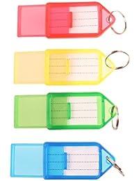 Tinksky Porte-clés en Plastique Bagages ID Tags étiquettes Avec Porte-clés, Pack de 60 (Couleur Aléatoire)