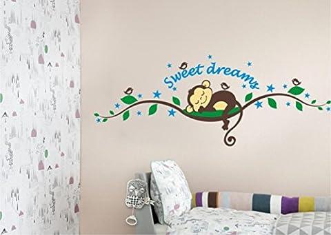 Stickerkoenig Wandtattoo Sweet Dreams niedliches Äffchen auf Ast schlafend Wandaufkleber Deko fürs Kinderzimmer bunter Wandsticker DIY