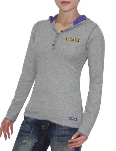 NCAA LSU Tigers Damen Slim Fit Langarm-Kapuzen Grau