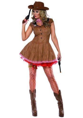 Damen Fieber Sexy Cowgirl Cowboy & Indianer Wilder Westen West Pistolenheld Sheriff Party Kostüm Outfit - Braun, 16-18