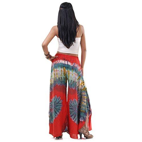 Extrem weite Hippie Batik 70er Jahre Party Hose Schlaghose 36 38 40 S M Rot